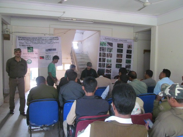 Forest staff snake training in Manas Tiger reserve
